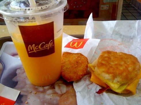 Mcdonalds Breakfast  Bacon Egg and Cheese Biscuit hash brown